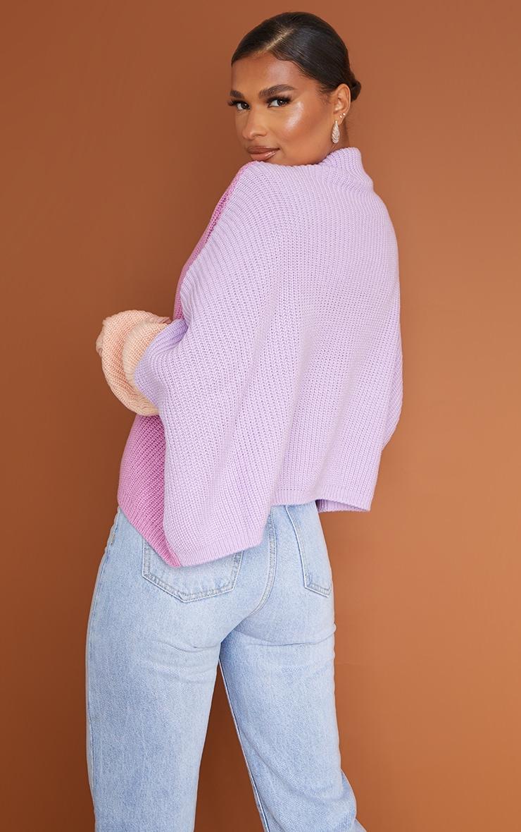 Pink Oversized Colourblock Jumper 2