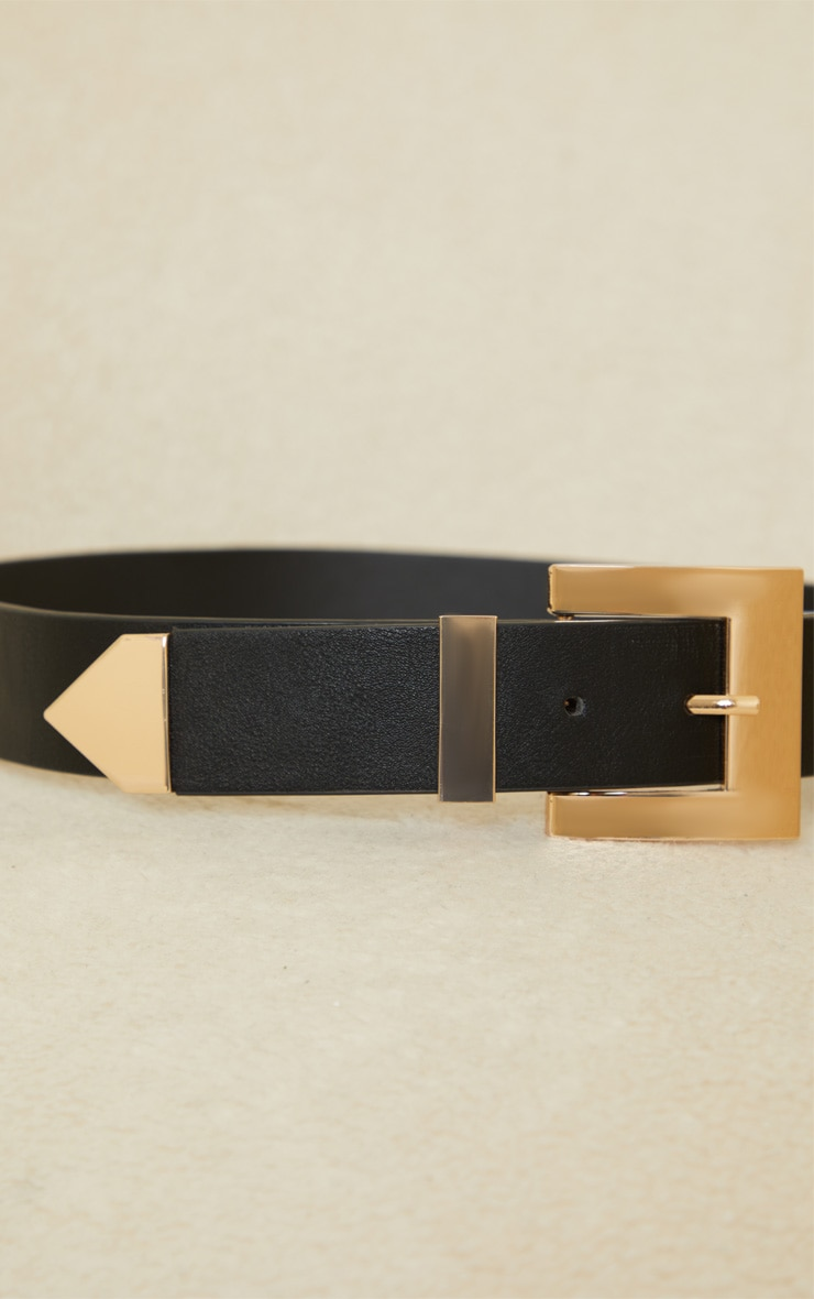 Black Double Gold Square Buckle Waist Belt 3