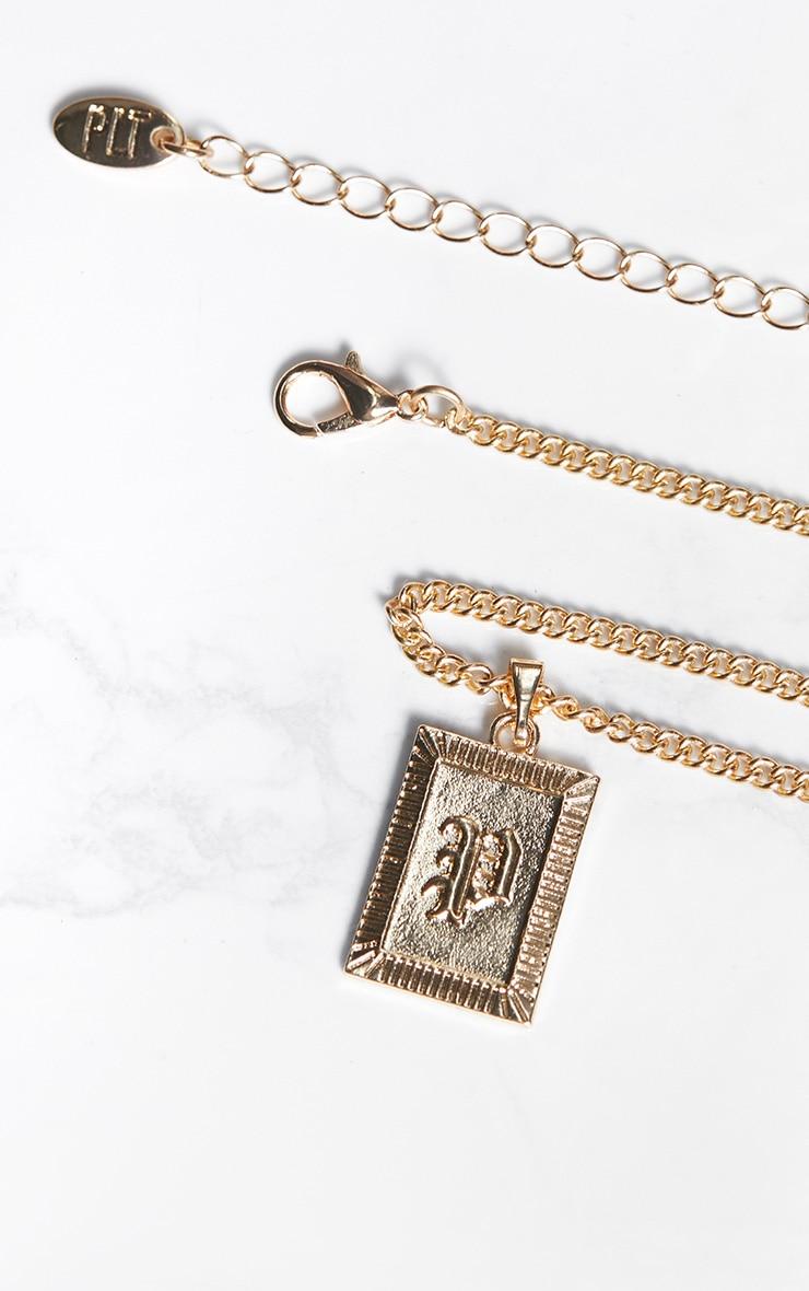 Gold Square Letter P Pendant Necklace 4