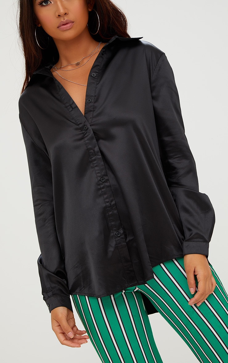 Black Satin Button Front Shirt 4