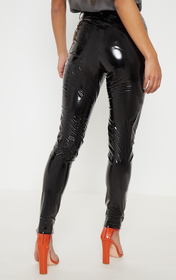 Pantalon skinny en vinyle noir à boutons 4
