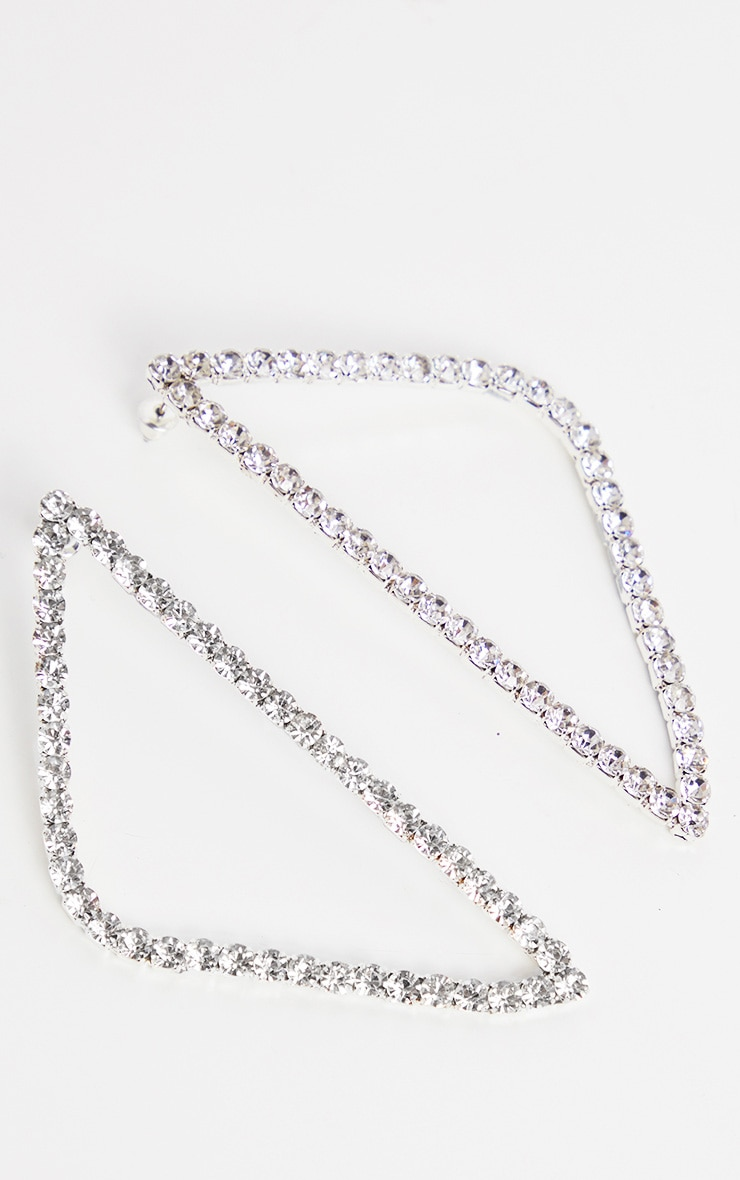 Crystal Diamante Triangle Earrings 3