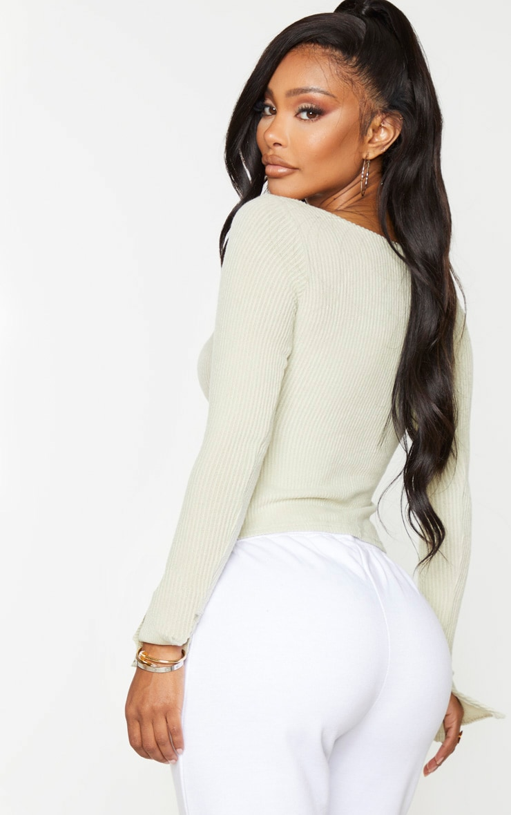 Shape Sage Khaki Brushed Rib Long Sleeve Top 3