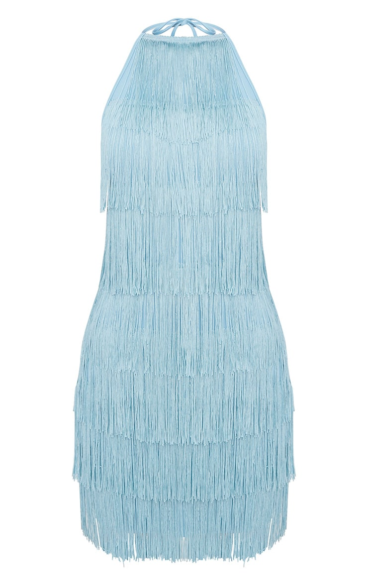 Dusty Blue Tassel Detail Halterneck Bodycon Dress 3