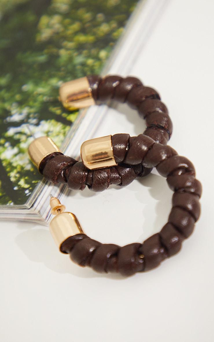 Brown And Gold Twist PU Hoop Earrings 3