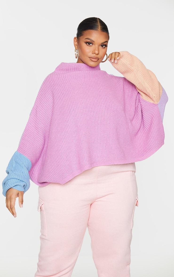 Plus Pink Oversized Color Block Sweater 3