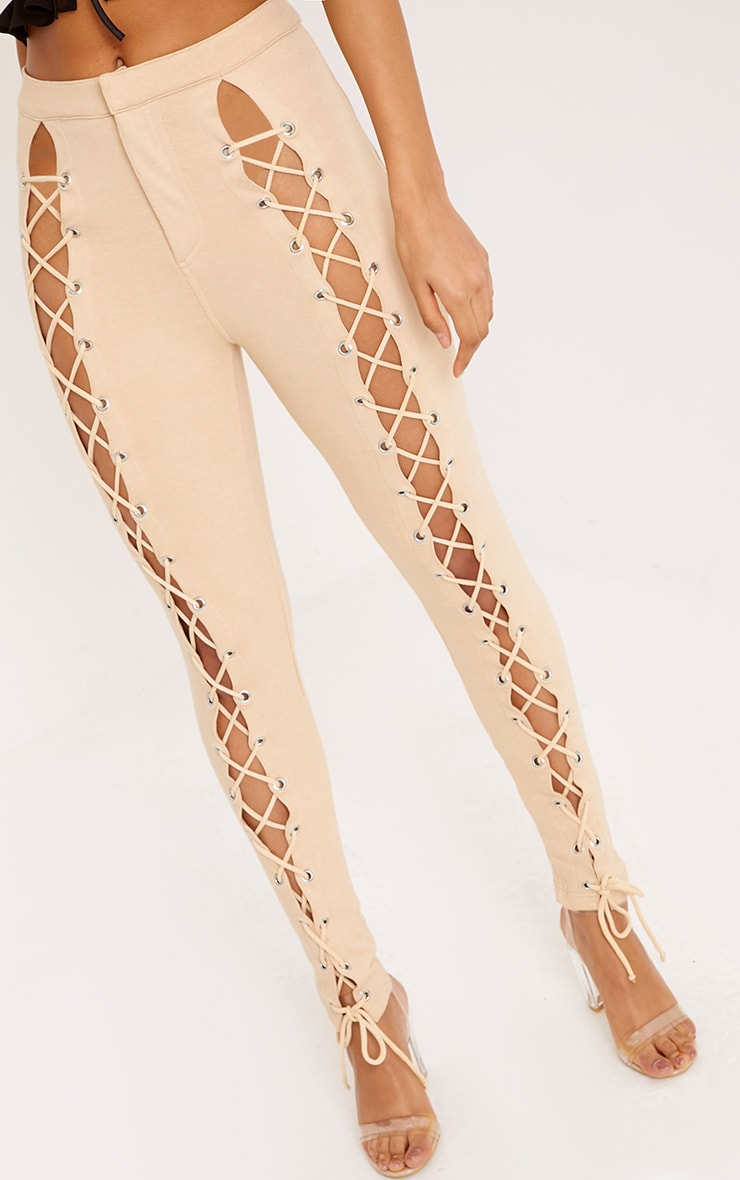 Lynda Stone Front Lace Up Skinny Trousers 5