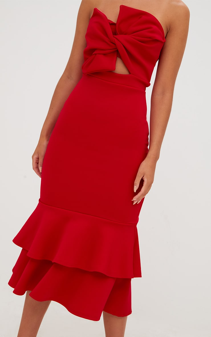 Red Scuba Bow Detail Frill Hem Midi Dress 5