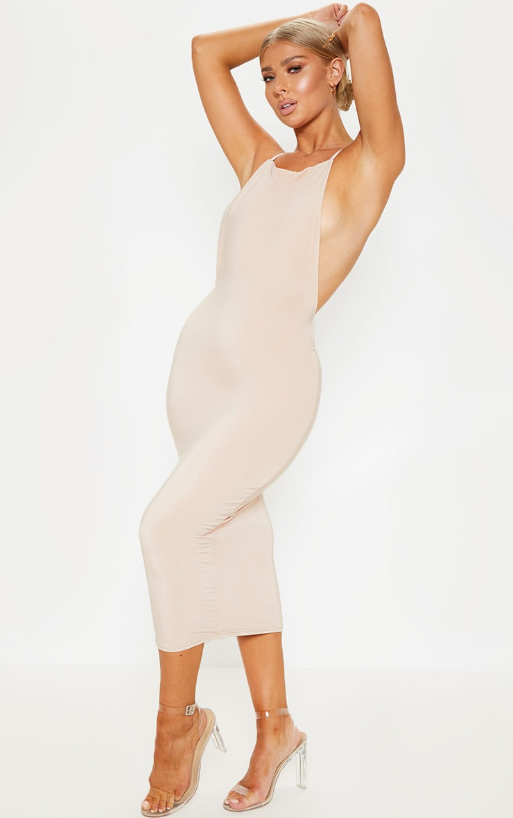 Nude Strappy Slinky Cross Back Midi Dress 4