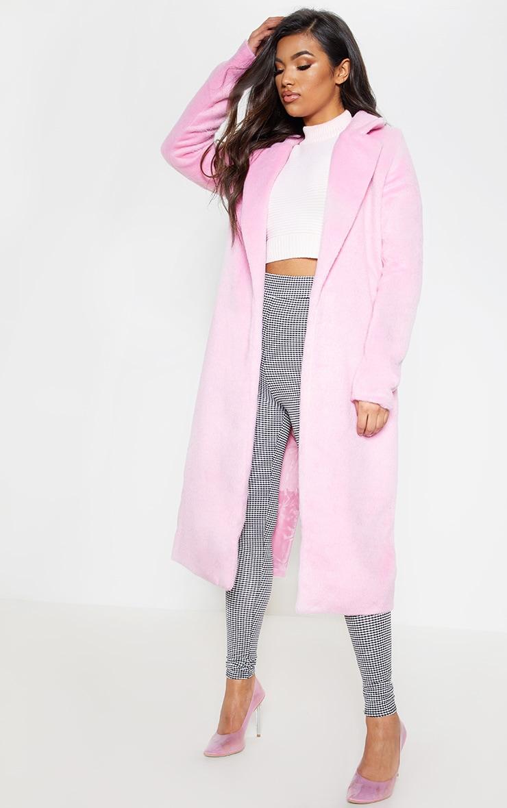 Long manteau  rose en laine 5