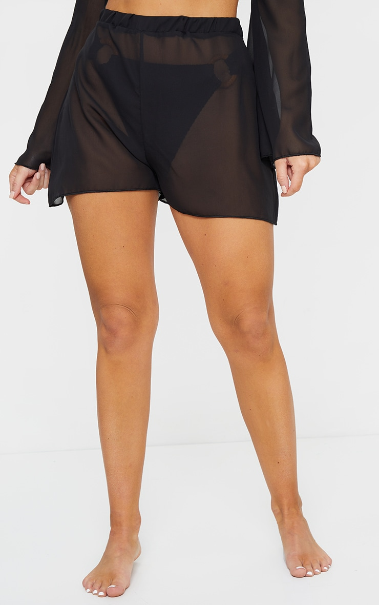 Black Floated Beach Shorts 2