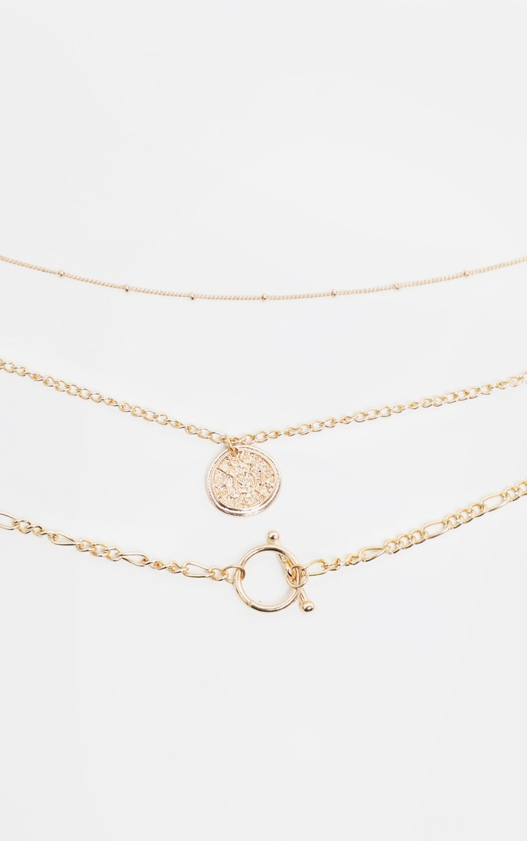 Gold T Bar And Disc Multi-Layer Necklace 3