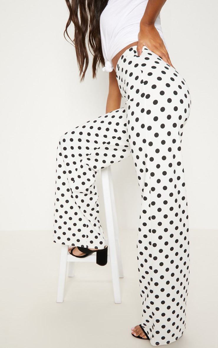 White High Waisted Polka Dot Wide Leg Trouser  5