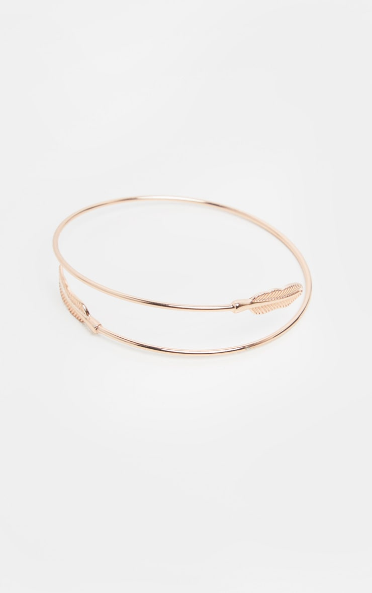 Rose Gold Feather Arm Cuff 2