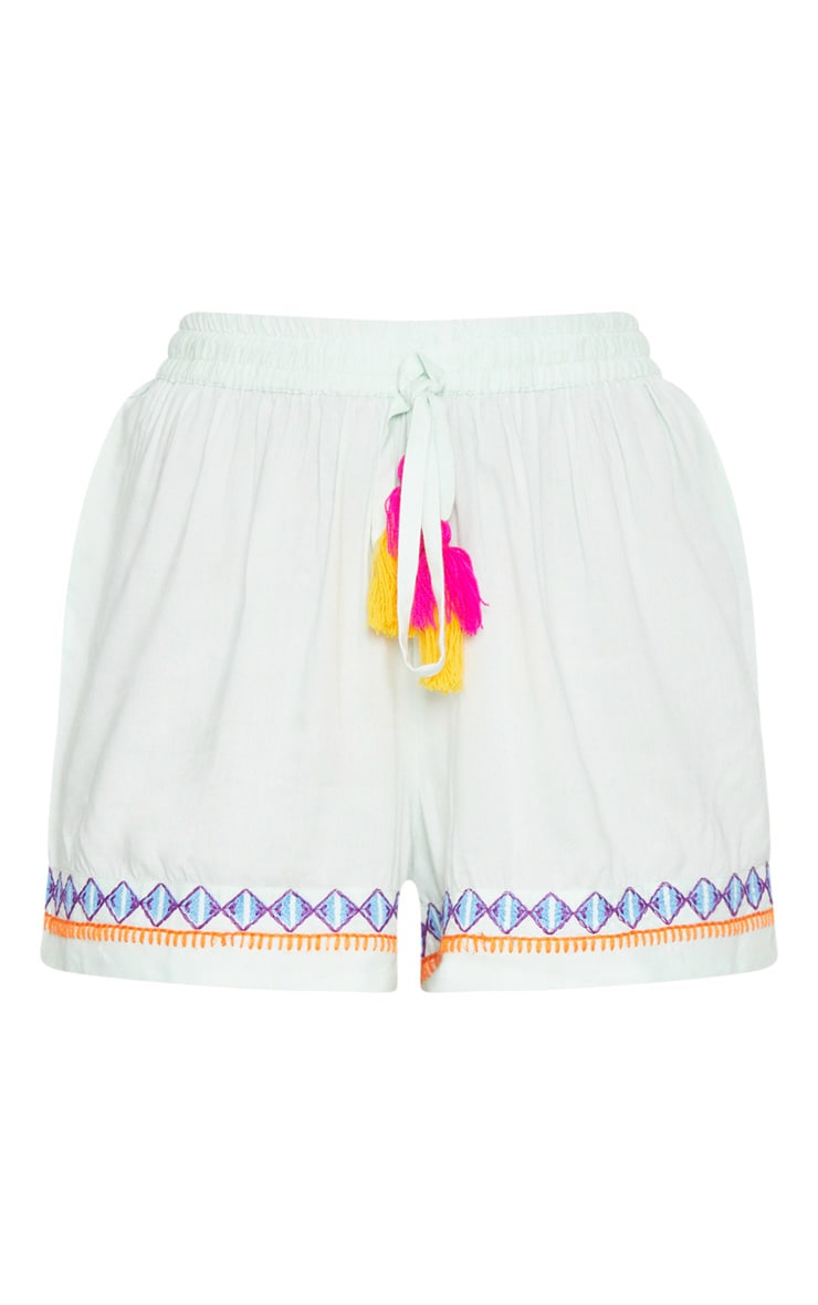 Mint Embroidered Floaty Shorts 3