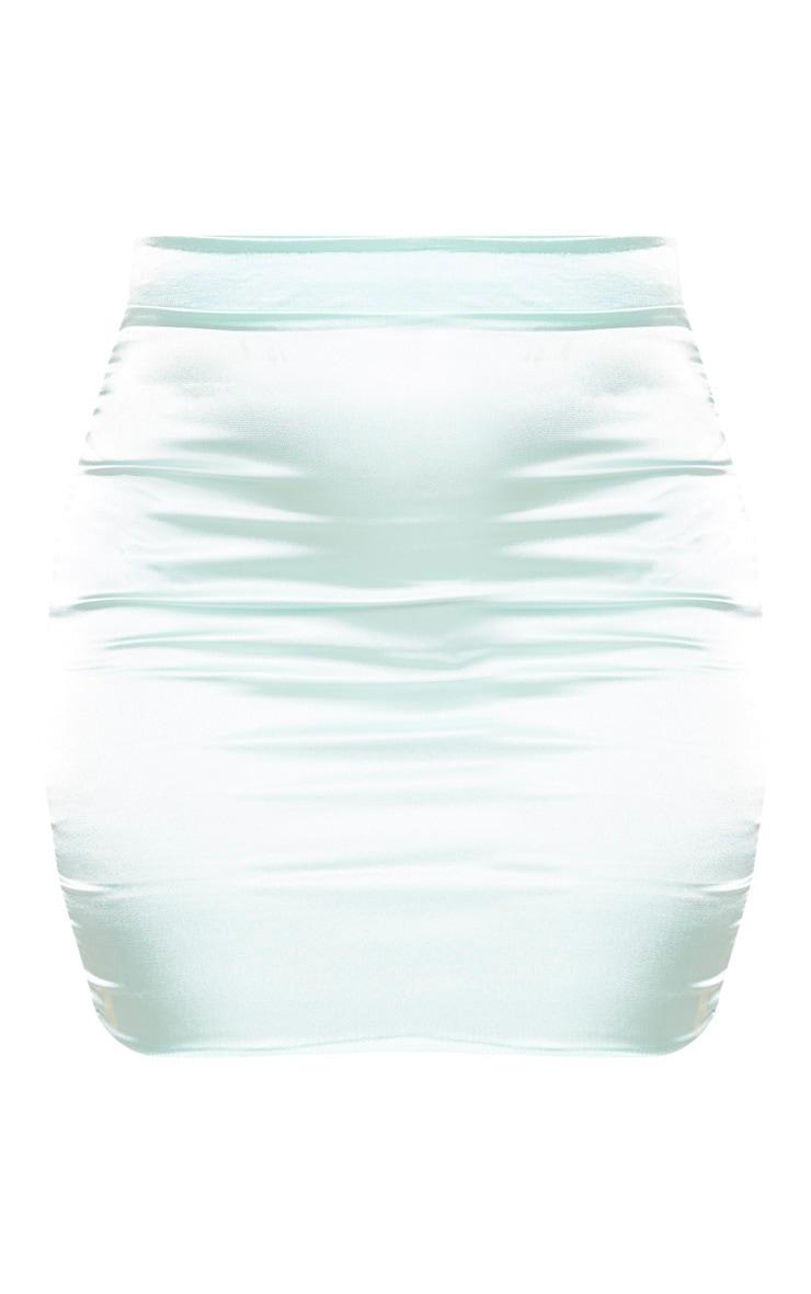 Mint Satin High Waist Mini Skirt 3