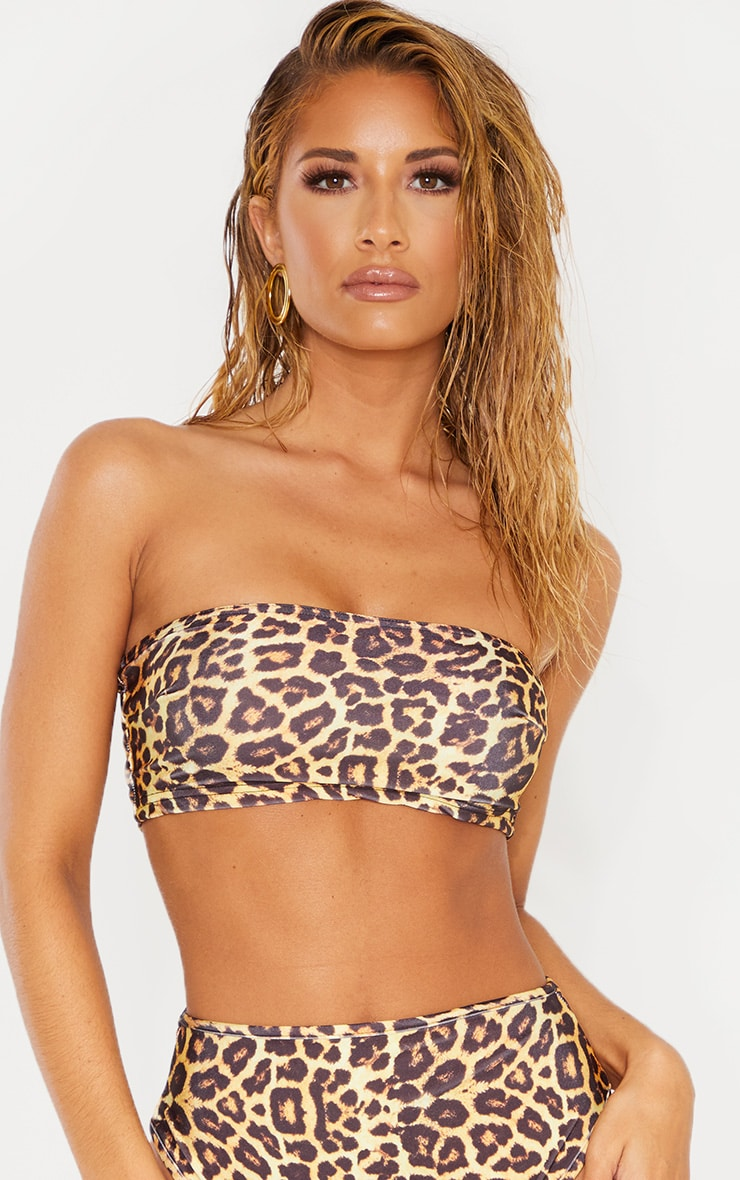 Leopard Mix & Match Bandeau Bikini Top 1