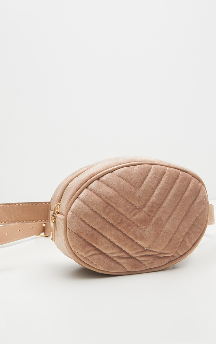 Nude Velvet Chevron Quilted Bum Bag 3