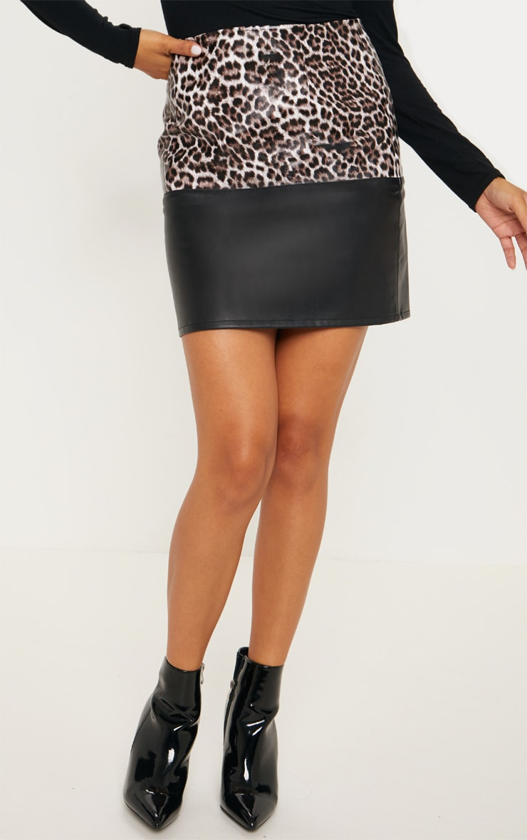 Brown Faux Leather Animal Print Colour Block Skirt 2