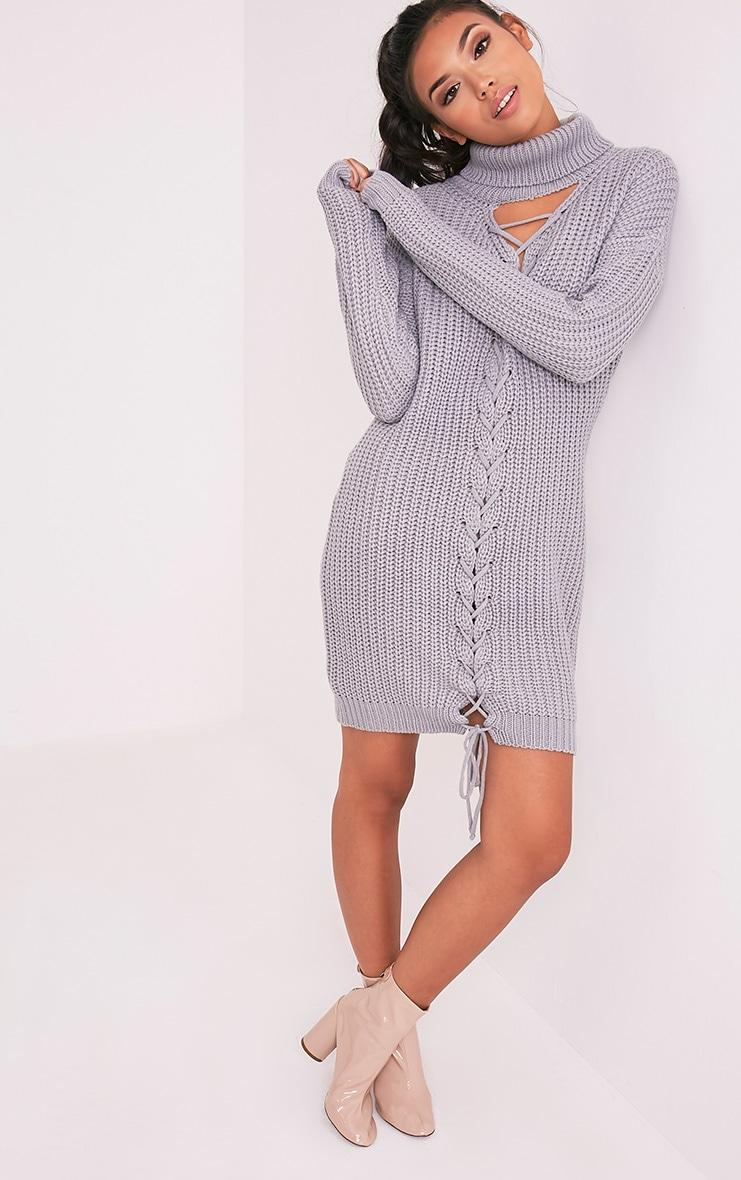 Josalinda robe col roulé à lien à nouer sur le devant en maille grise 5
