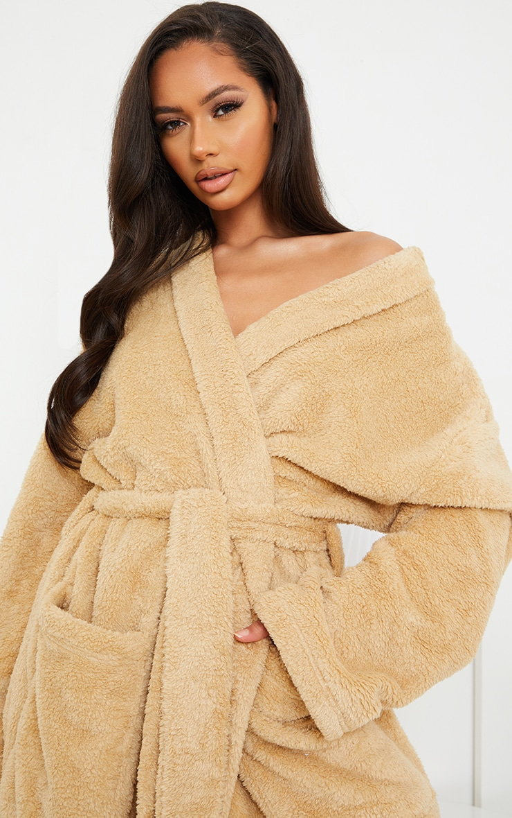 Stone Oversized Fluffy Dressing Gown 4