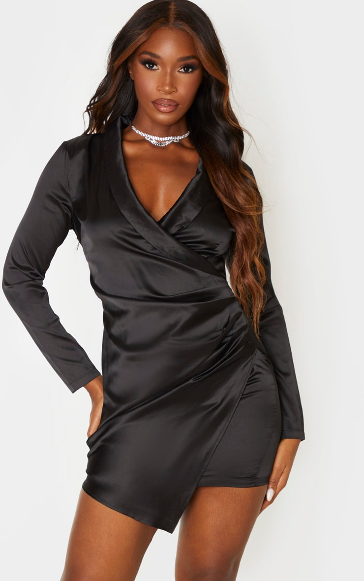 Black Satin Ruched Side Long Sleeve Bodycon Dress