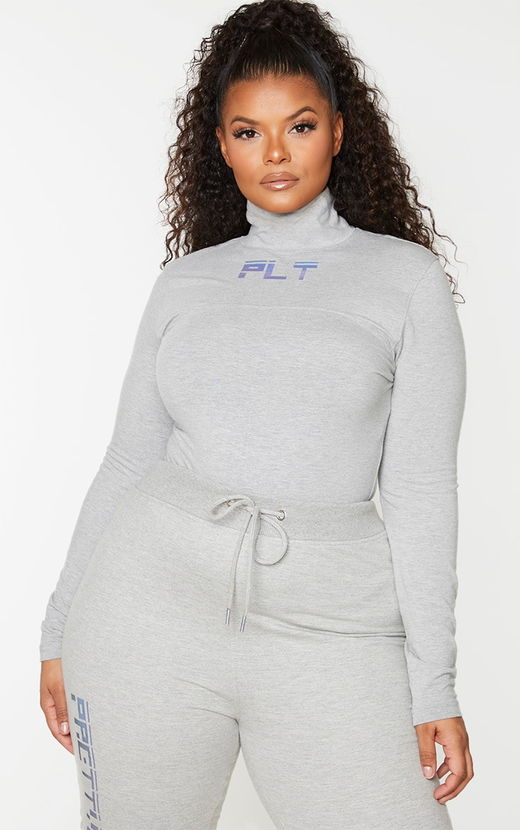 PRETTYLITTLETHING Plus Grey Reflective High Neck Top 1