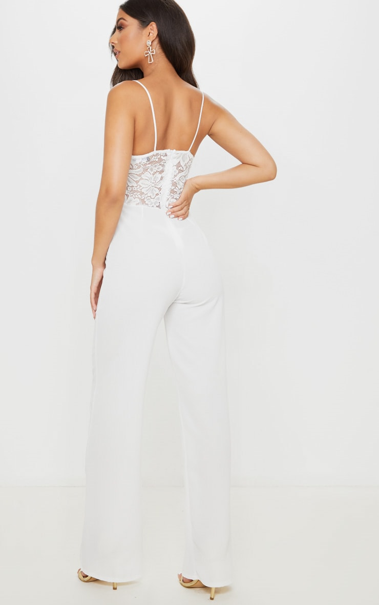 White Lace Wide Leg Jumpsuit 2