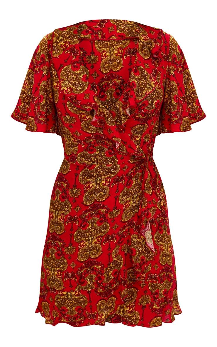 Red Chain Print  Wrap Dress 3