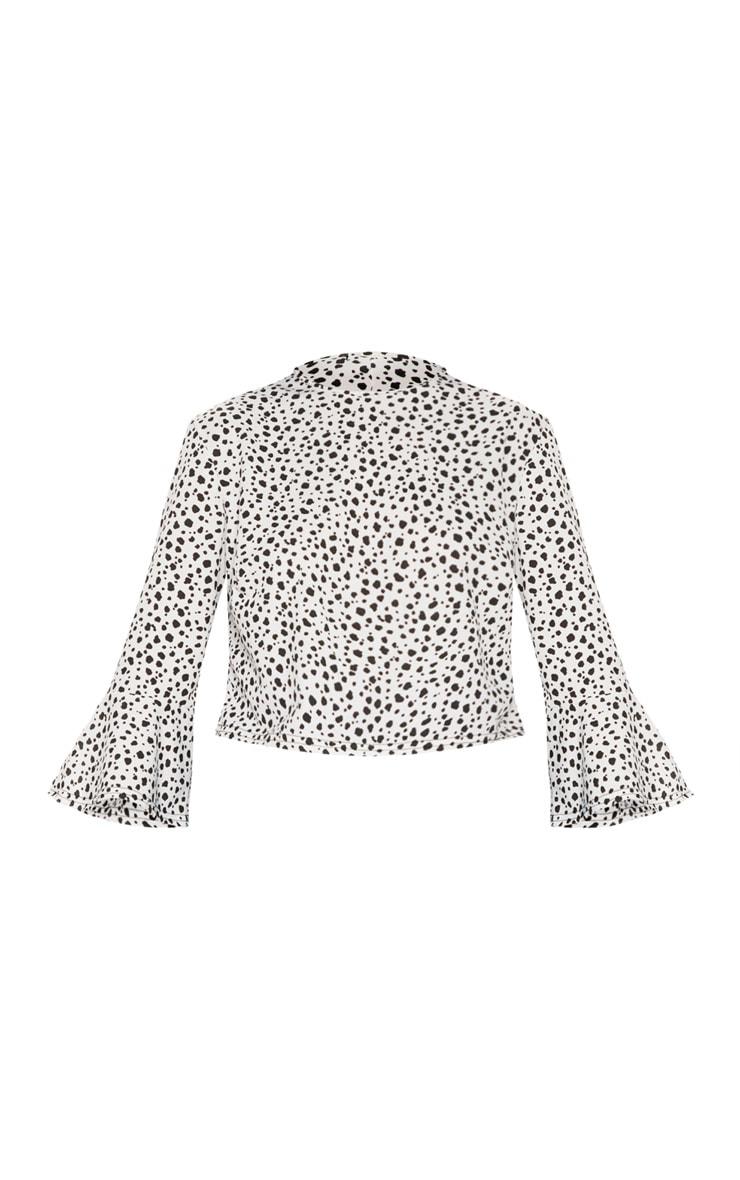 Mono Dalmatian Print Flute Sleeve Crop Top 3