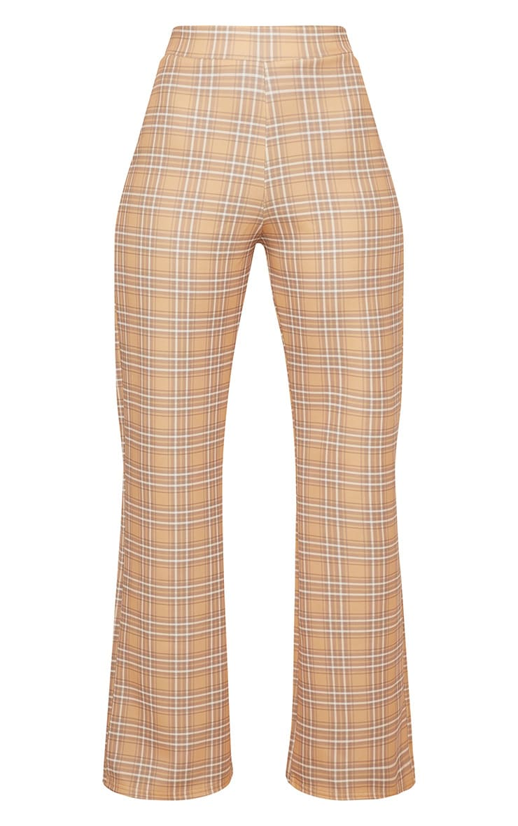 Camel Check High Waisted Wide Leg Trousers 4