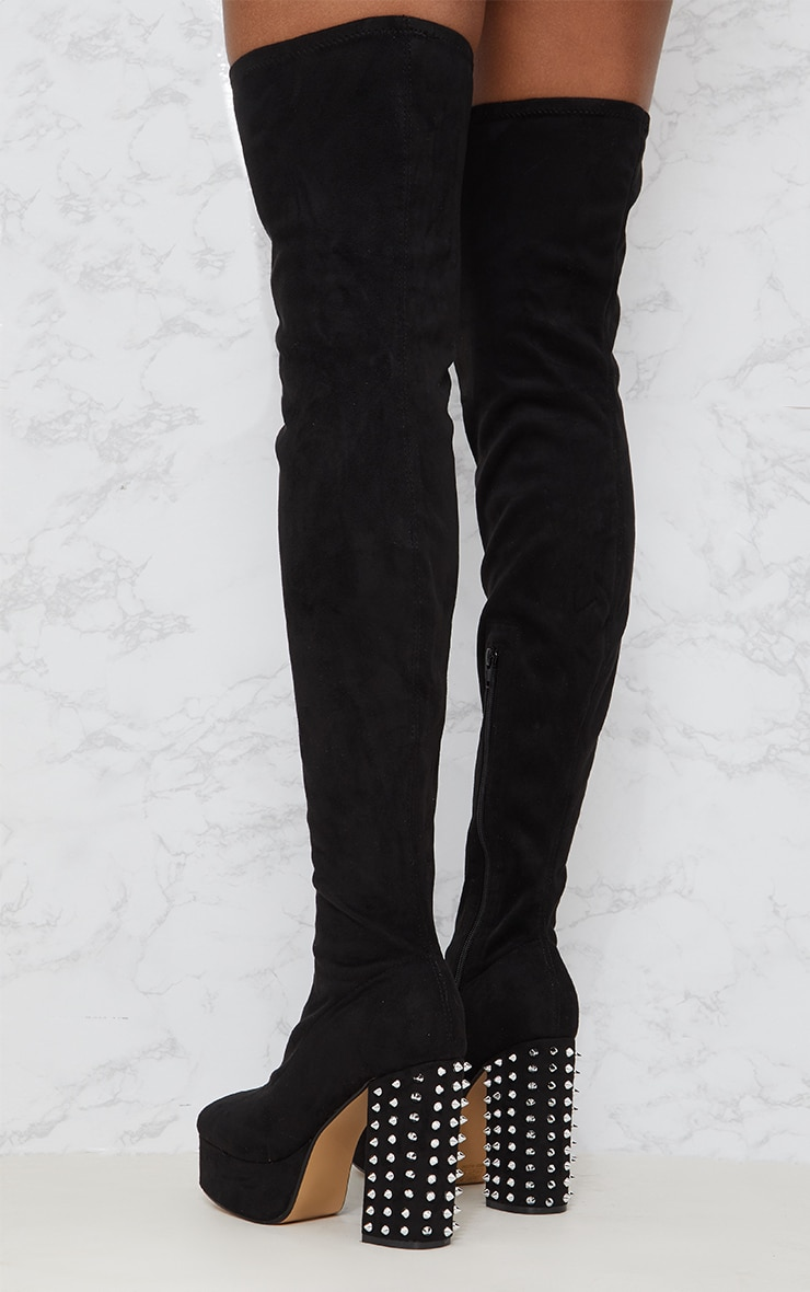 Black Faux Suede Thigh High Platform Boot 2