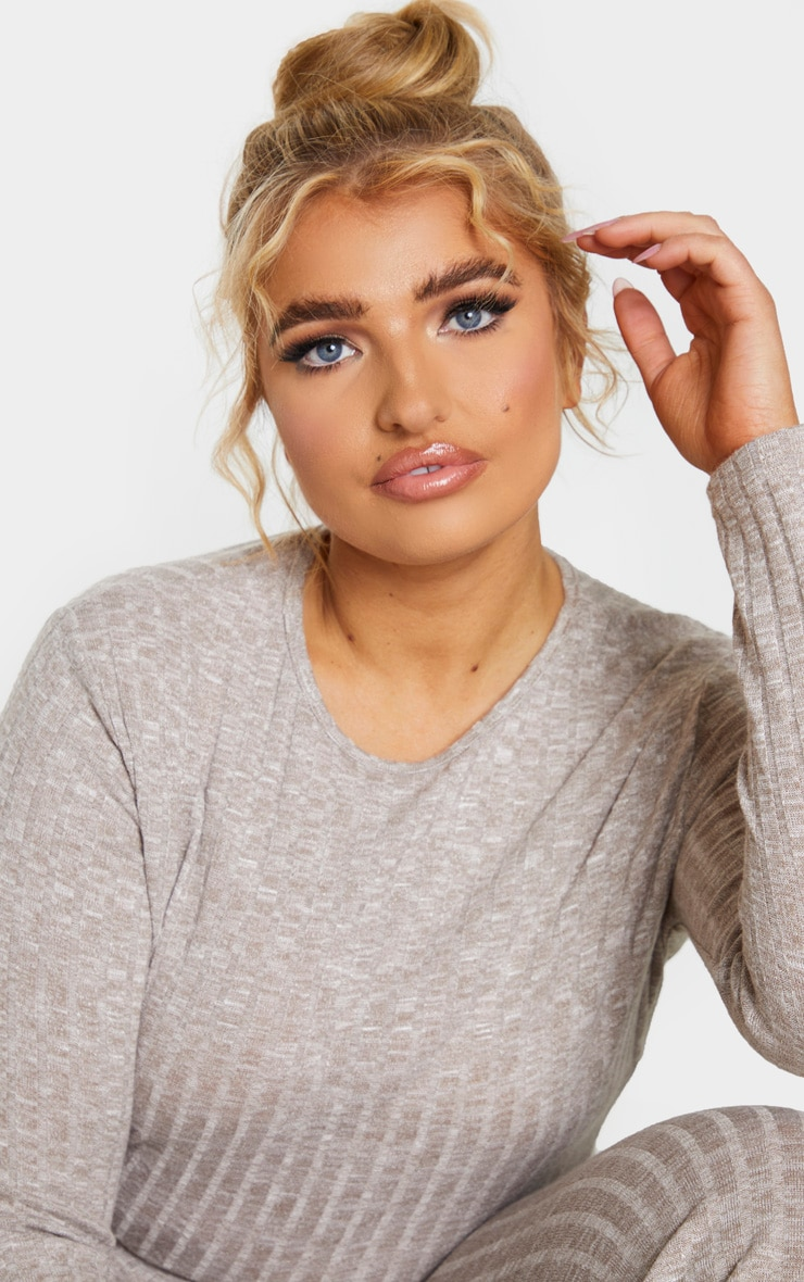 Plus Sand Knitted Rib Long Sleeved Crop Top 4