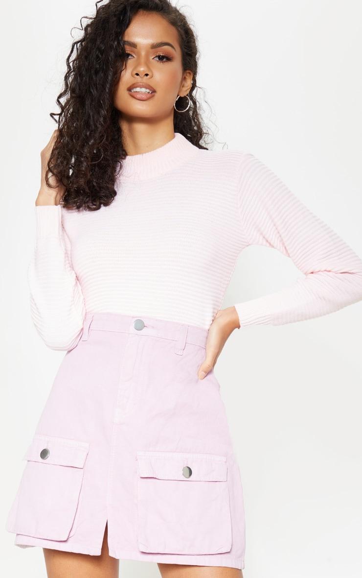 Lilac Neon Pocket Detail Denim Skirt
