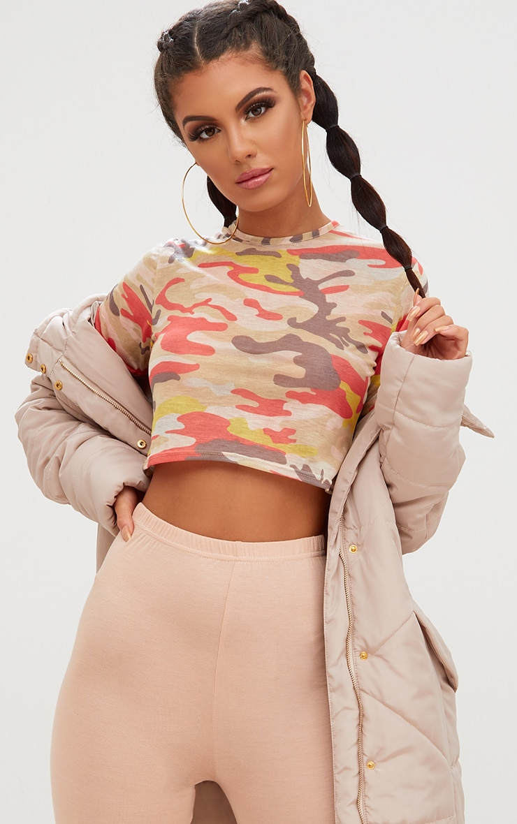Cream Camouflage Crop T Shirt  1