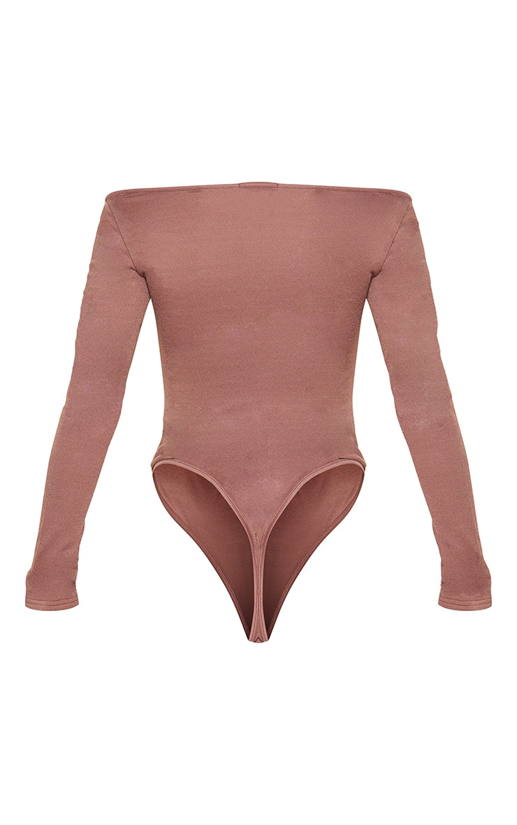 Chocolate Long Sleeve Ruched Front Bodysuit 6