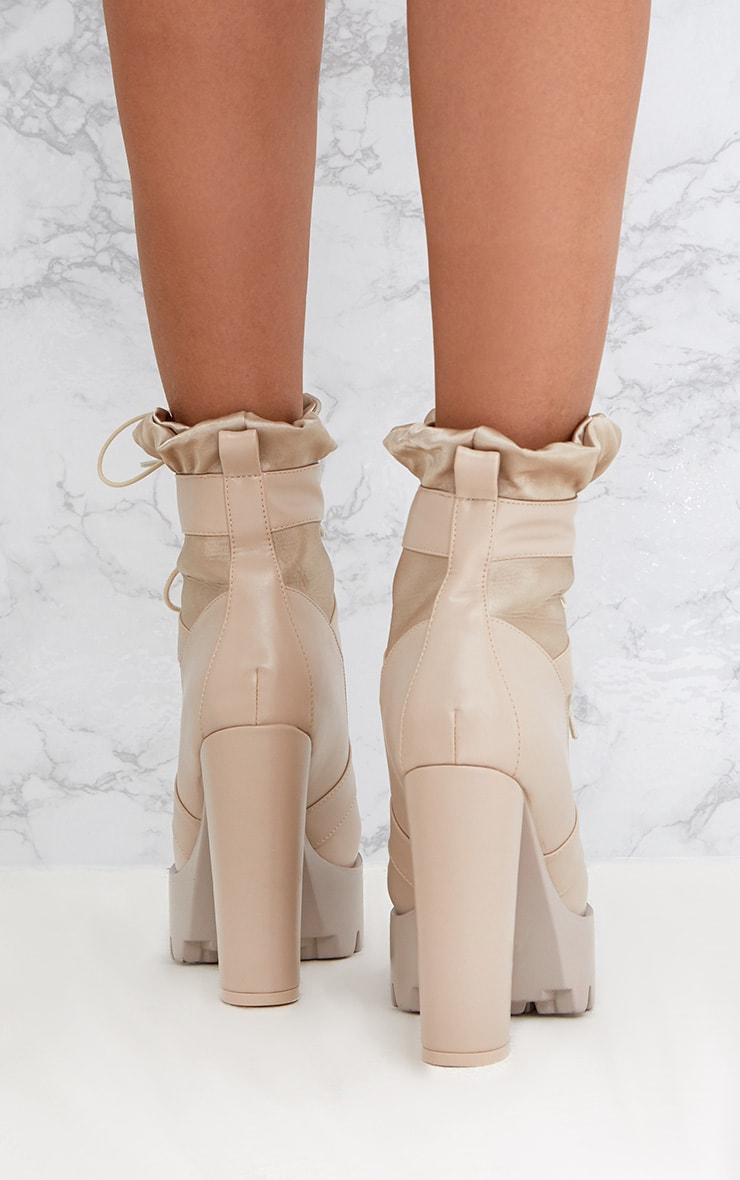 Beige Ruched Lace Up Platform Ankle Boots 4