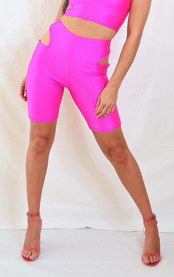 Pink Disco Cut Out Bike Shorts 3