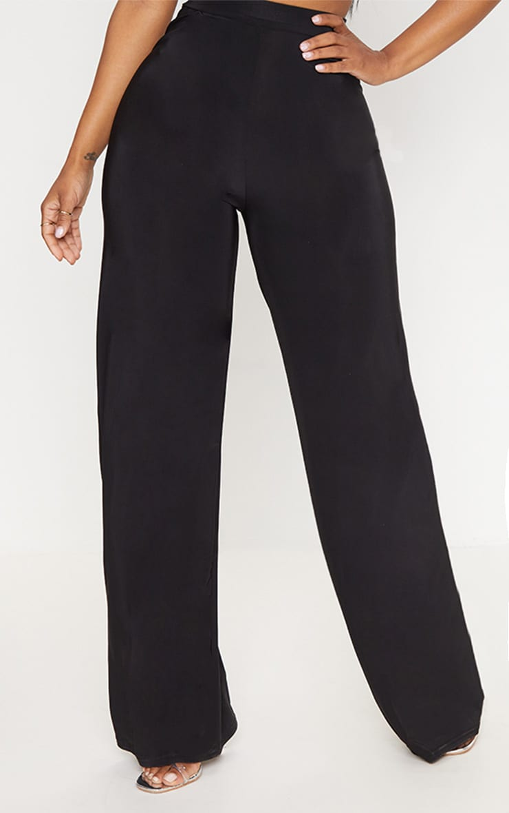 Shape Black Slinky Side Split Wide Leg Trousers  2