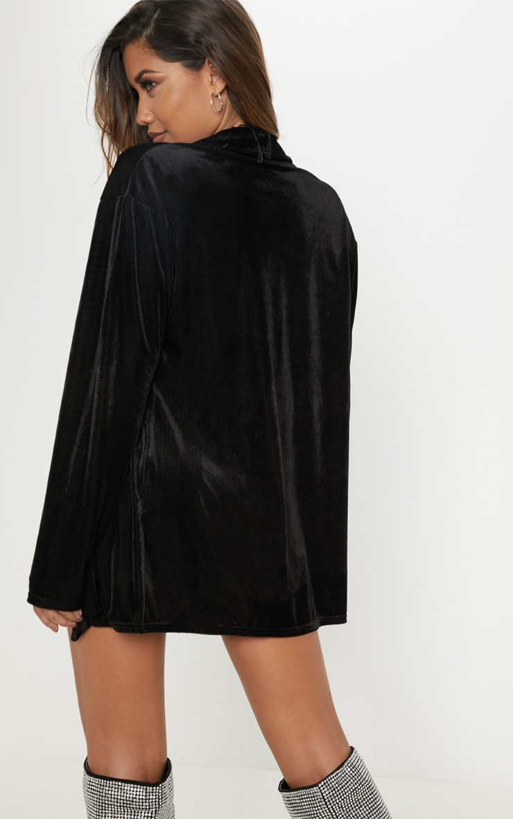 Black Ribbed Velvet Oversized Blazer  2