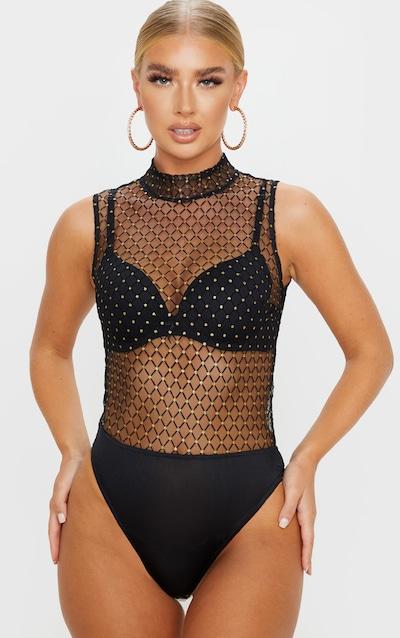 Black Mesh Polka Dot High Neck Bodysuit