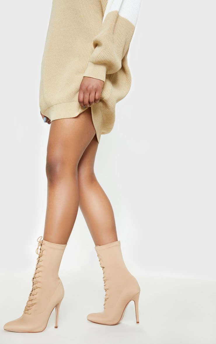 Nude Wide Fit Lace Up Sock Boot 2