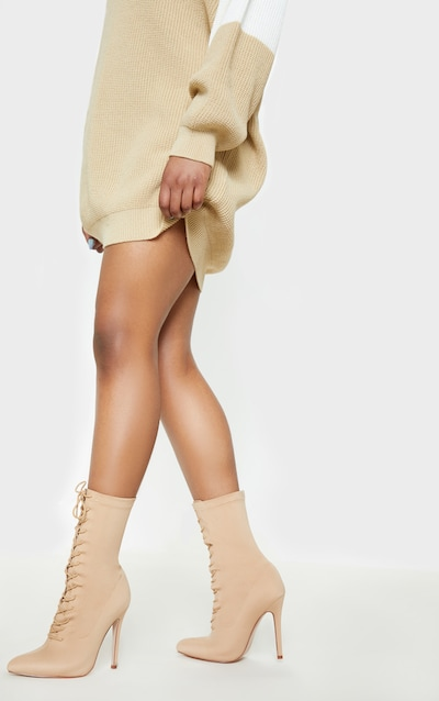 Nude Wide Fit Lace Up Sock Boot