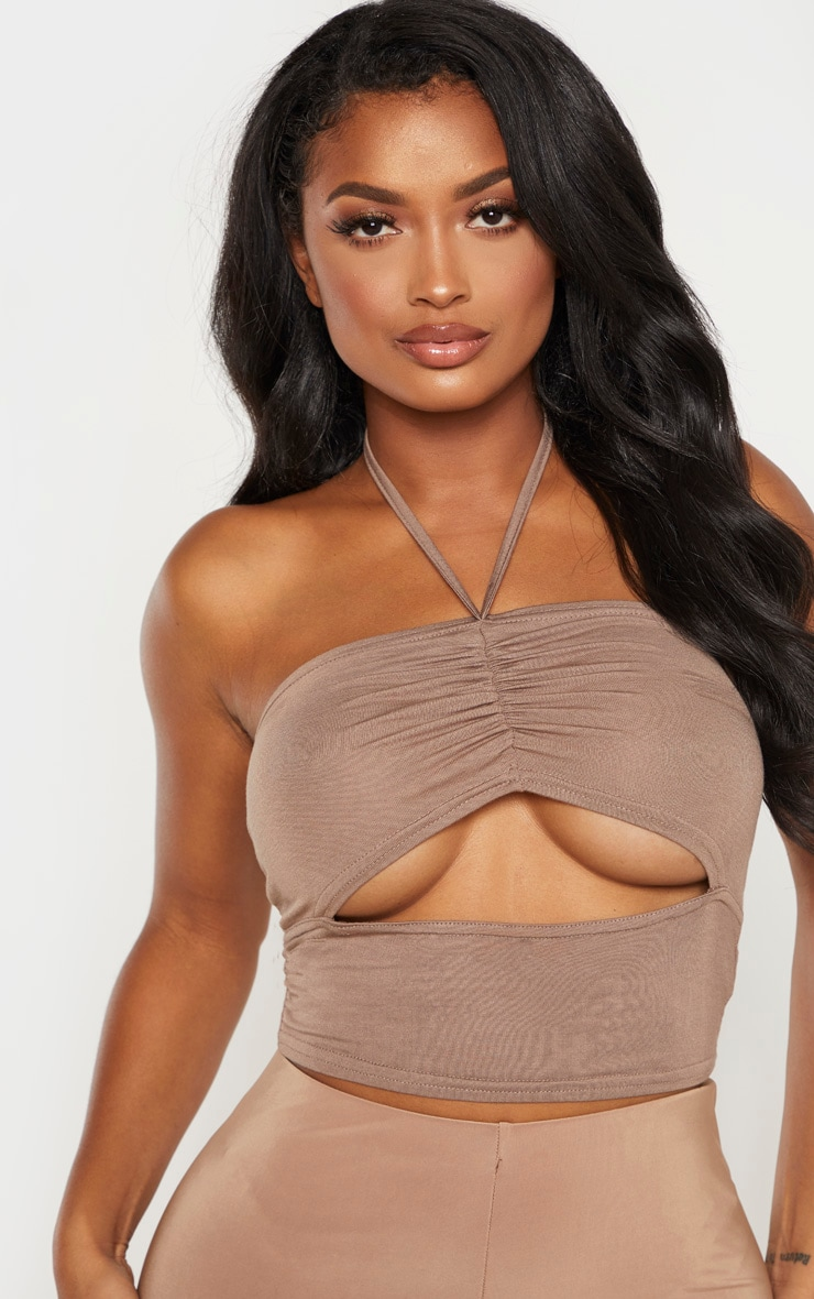 Shape Stone Jersey Ruched Tie Neck Crop Top 5