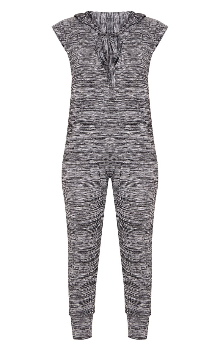 Grey Knitted Hooded Jumpsuit 3
