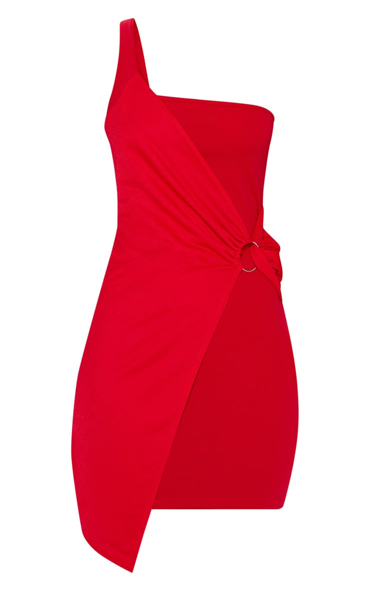 Red One Shoulder Ring Detail Bodycon Dress 3