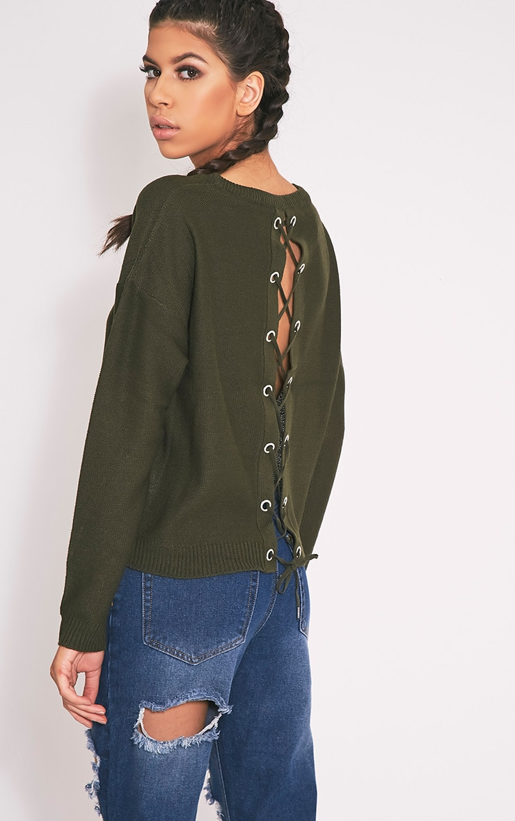 Alissa Khaki Lace Up Back Knitted Jumper 1