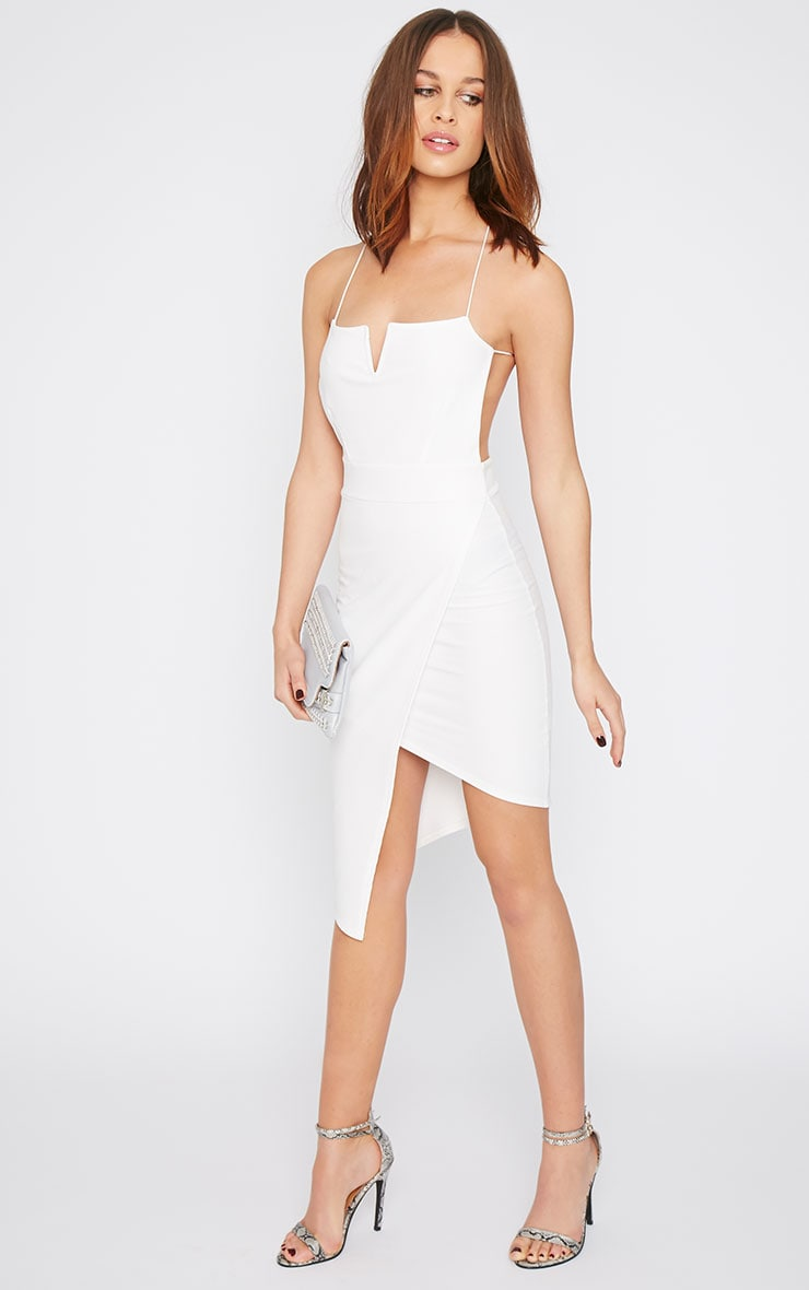 Raye White Cross Back Asymmetric Dress  5