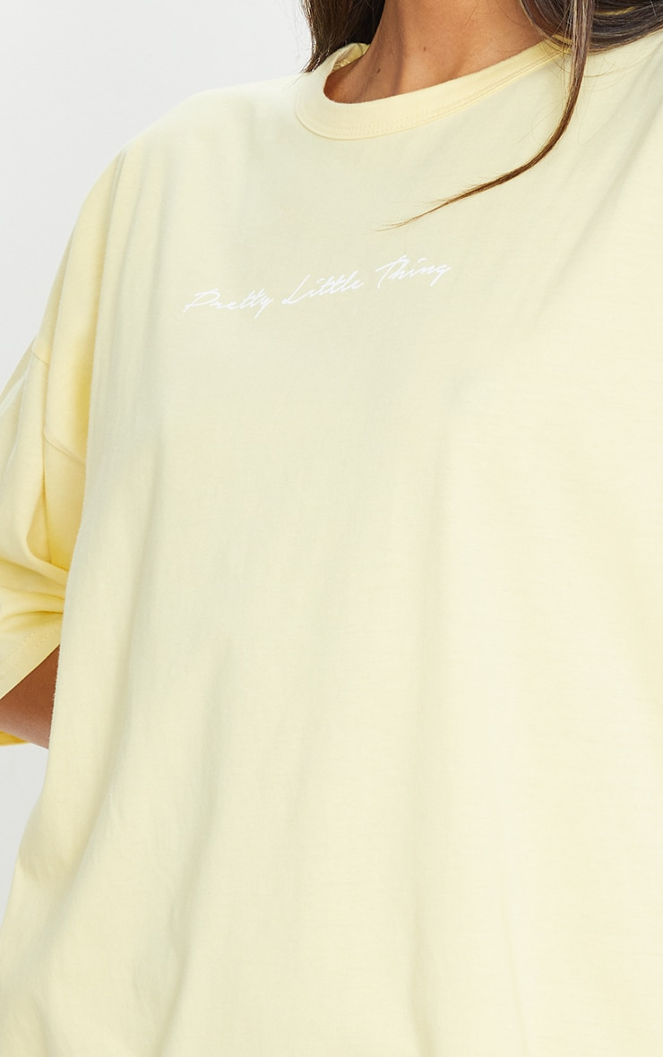 PRETTYLITTLETHING Yellow Slogan Oversized Boyfriend T Shirt Dress 4