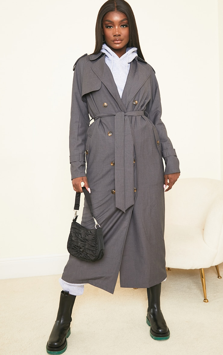 Tall Grey Oversized Trench 1